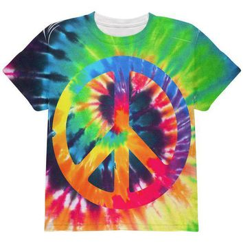 PEAPGQ9 Peace Sign Tie Dye All Over Youth T Shirt