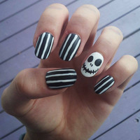 Jack Skellington - Nightmare Before Christmas fake handpainted nails