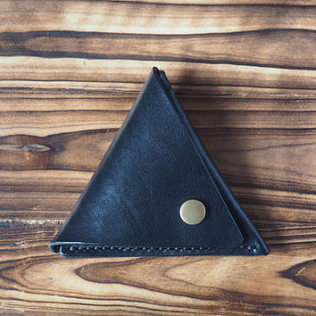 Leather Coin Pouch - triangle coin purse handmade, Coin Case, Coin Wallet, Minimalist wallet, chain wallet, personalized, custom # Black
