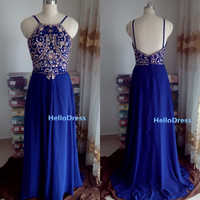Long Prom Dress,Long  Beaded Open Back Royal Blue Chiffon Prom Dress,Spaghetti Straps Prom Dress,Long Evening Dress Homecoming Dress