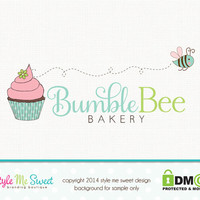 Cupcake Logo Design Bakery Logo Design Bee Logo Premade Logo Design Small Business Logo Hand Drawn