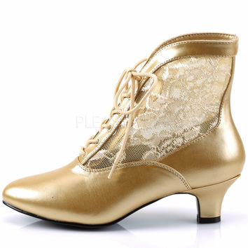 "Dame 05 Lace Panel Victorian Style Ankle Boots 2"" Heel 6-12 Gold"