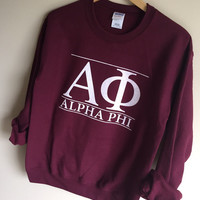 New Alpha Phi Maroon Stripe Crewneck Sweatshirt // Size S-XL