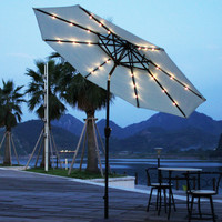 9 Feet Outdoor Market Aluminum 2-Layer Umbrella with Tilt and Crank and Solar Cell LED Light (Off White) ** Base Not Included **