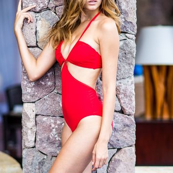 Sauvage Infiniti Cutout One Piece Red Monokini