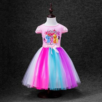 Baby Girls Princess Cartoon Rainbow Dress for Kids little pony/Elsa/Anna girls Short Sleeve Cotton Tutu Dresses For Girl Costume