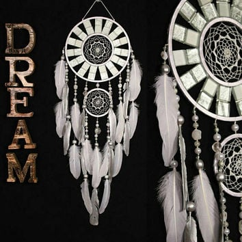 Wedding gifts White Dreamcatcher mosaic Dream Catcher Large Dreamcatcher white Dream сatcher gift idea agate dreamcatcher gift christmas