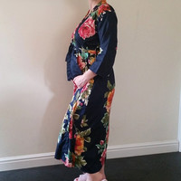 Navy Blue Large Floral Ankle length Maternity Robe | Hospital Gown, Labor gown, Delivery gown, nursing mothers,Pregnancy robe, Long Robe