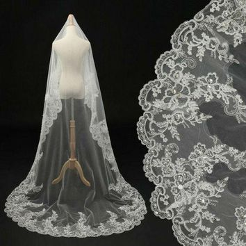 CREYUG3 Worldwide! In Stock 2015 Luxury Long Sweep Bridal Veils White/ Ivory Lace Beads Pearl Bride Accessories For Wedding Dress