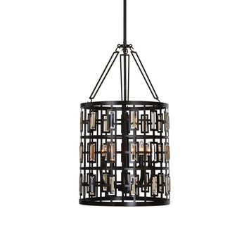 Rhombus 5 Light Lantern Bronze Pendant Lighting Fixture by Uttermost