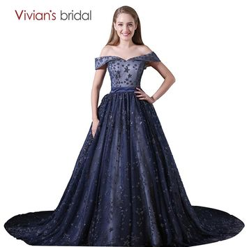 Ball Gown Evening Dress Dark Navy Blue Off Shoulder Strapless Lace Prom Dress Long Party Dress