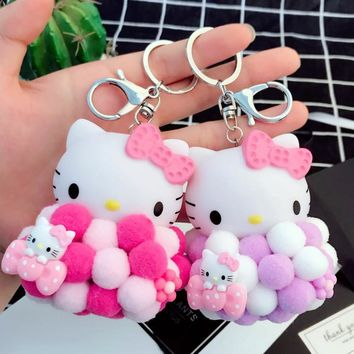 Cartoon Cute Plush Ball Hello Kitty Keychains KT Cat Key Rings Bag Purse Car Charms Pendant Key Chains Gift Trinkets Porte Clef