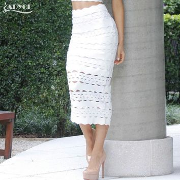 Adyce 2017 New Arrival Women Bandage Pencil Skirt Sexy White Mid-Calf Hollow Out Elegant Celebrity Prom Bodycon Party Skirts