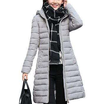 Women coat 2017 autumn winter new women's cotton Korean Slim hooded jacket Long woolen coats clothing vestidos RLD025