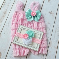 Pink and aqua cake smash romper and headband outfit. Baby girl 1st birthday outfit. Lace romper with shabby chic headband set.