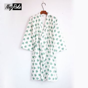 New Summer japanese fashion leaves kimono robe women nightdress 100% cotton ladies sleepshirts bathrobe for women dressing gown