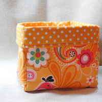 Bright and Cheery Orange Floral Fabric Basket