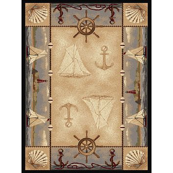 Tayse Nature Seashore Nautical Area Rug