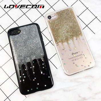 LOVECOM For iphone 6 6S 7 8 Plus X Glitter Powder Stars Quicksand Phone Case Protective Soft TPU Transparent Back Cover Coque