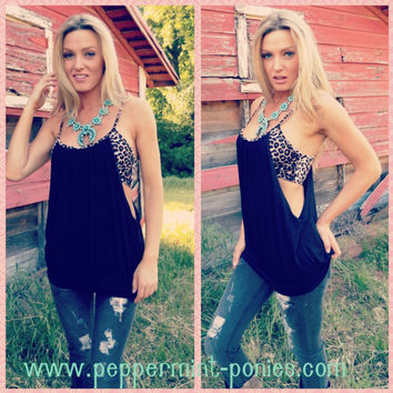 Black tank with leopard bandeau