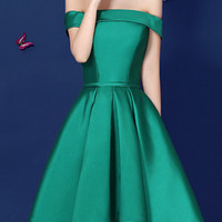 Green Off Shoulder Bow Waist Homecoming Bandeau Dress