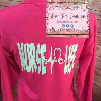Nurse Life Monogram Stethoscope Long Sleeve Shirt - Nurse Monogram Heart Stethoscope - Nurses Shirt - Nursing Student - Nurse Graduate Gift