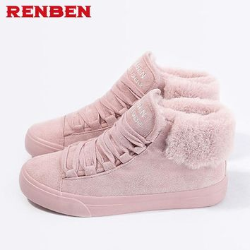 Plush Women Warming Boots Suede Outdoor Winter Feather Casual Shoes Durable Female Snow Boots Footwear zapotos mujer