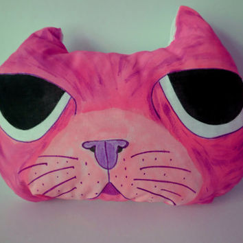 Hand Painted Cat Pillow,Nursery Decor,Decorative Pink Cat,Soft Sculpture,Hand drawn Pillows,Animal Totems,Fiber Art ,Kitten Pillows