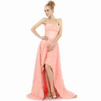 A line Strapless Short Front Long Back Formal Gowns Dresses High Low Evening Dresses