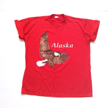 Vintage graphic tees. 80's red tshirt