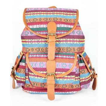 Ethnic School Bag Travel Bag Canvas Casual Backpack