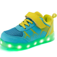 Girls / Boys Sky Blue & Yellow Unisex LED USB Charging Luminous Lighted Casual Sneakers