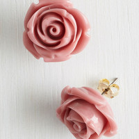 Vintage Inspired Retro Rosie Earrings in Dusty Rose by ModCloth