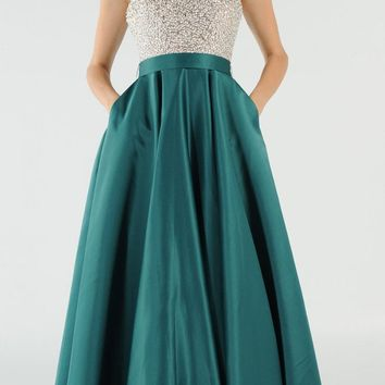 Emerald Halter Beaded Open Back Long Prom Dress with Pockets