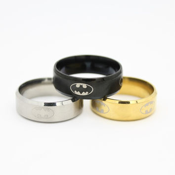 Trendy 8mm Stainless Steel Party Wedding Bands Batman
