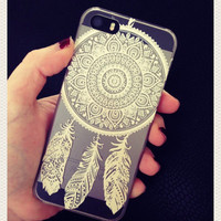 White Henna Dreamcatcher Print See Through Clear iPhone 5 5S Hipster Phone Case