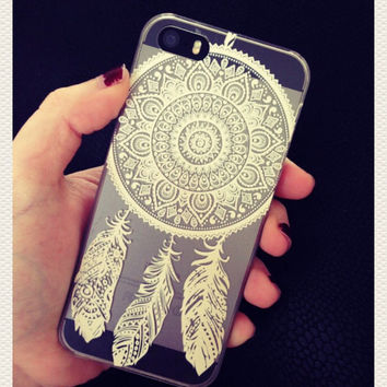 White Henna Dreamcatcher Print See Through Clear iPhone 6 6 Plus Hipster Phone Case