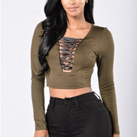 Plunging Strap Long Sleeve Cropped Blouse