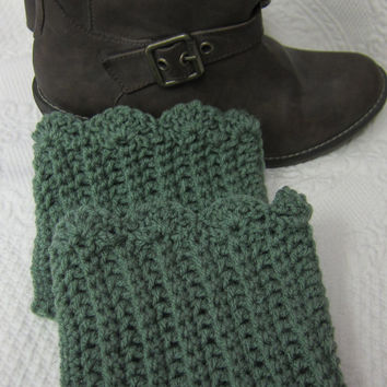 Boot Cuffs w/ Scalloped edge Sage Green Ready to Ship!