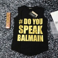 """Balmain"" Women Fashion Casual Print Letter Sleeveless Cotton Vest T-shirt Top Tee"