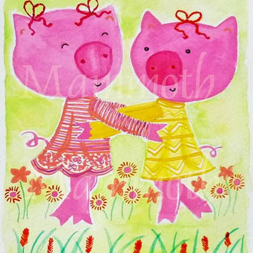 Pig family watercolor digital download hugging -animal with flowers -cute pink pig family -Whimsical pig farmhouse -wall art