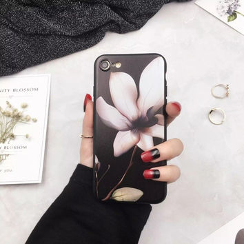 Full Of Charm Black Roses Lotus Flowers Phone Case For Apple iphone 6 6s 6 Plus 6s Plus 7 7 Plus Scrub TPU Soft Back Cover-04410