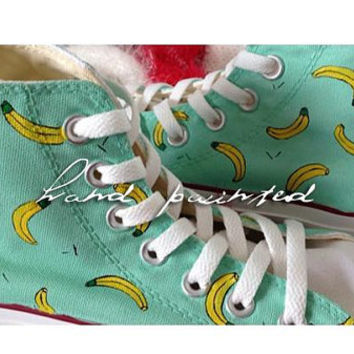 Hand-painted shoes Converse  Cute banana pattern Seven colors Men's and women's shoes