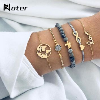 5pcs/set Luxury Micro Crystal Bracelet Set For Women Girls Best Friend Jewelry Cute Turtle Design Bead Braslet String Braclet
