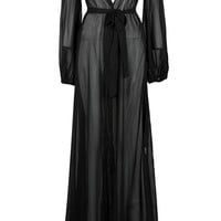 In The Shadows Black Sheer Long Sleeve V Neck Tie Waist Open Coat Maxi Dress