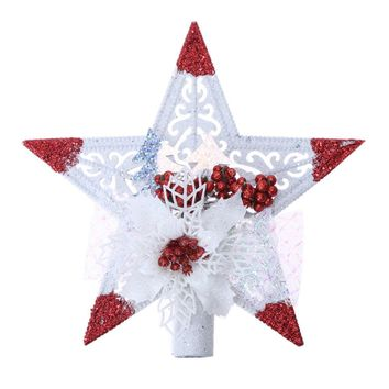 Sticky Tree Top Pentagonal Stars Plastic Christmas Tree Ornaments Standing Decor Home Decoration Christmas Hanging Pendant