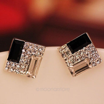 [flash Hot Selling New Fashion Women Lady Elegant Crystal Rhinestone Ear Stud Earrings = 5988019905