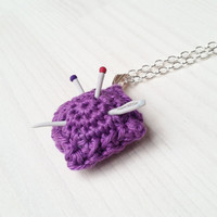Small jewelry pendant: Mini Pincushion with Fimo needles, gift for seamstress, embroiderer