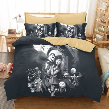 3D Black and White Bedding Set Nightmare Before Christmas Printed Bedclothes Soft 3pc Duvet Cover set with Pillow Case for Kids