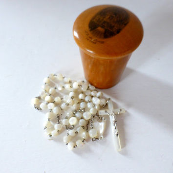 Antique French, Mother Of Pearl Rosary, With Treen  Pot